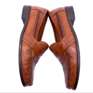 Bostonian Shoes - Bostonian Brown Woven Leather Loafers Dress Shoes